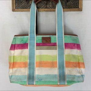 Coach Canvas Satchel Bag watercolor Striped